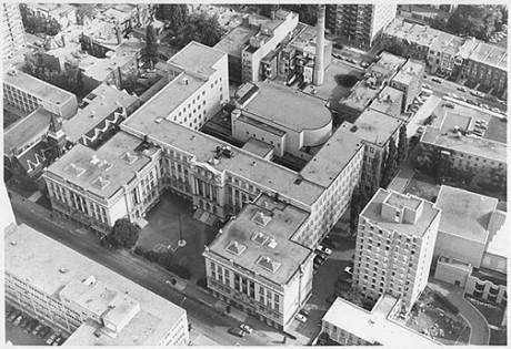 Vue aérienne de l'école FACE. Source: Héritage Montréal